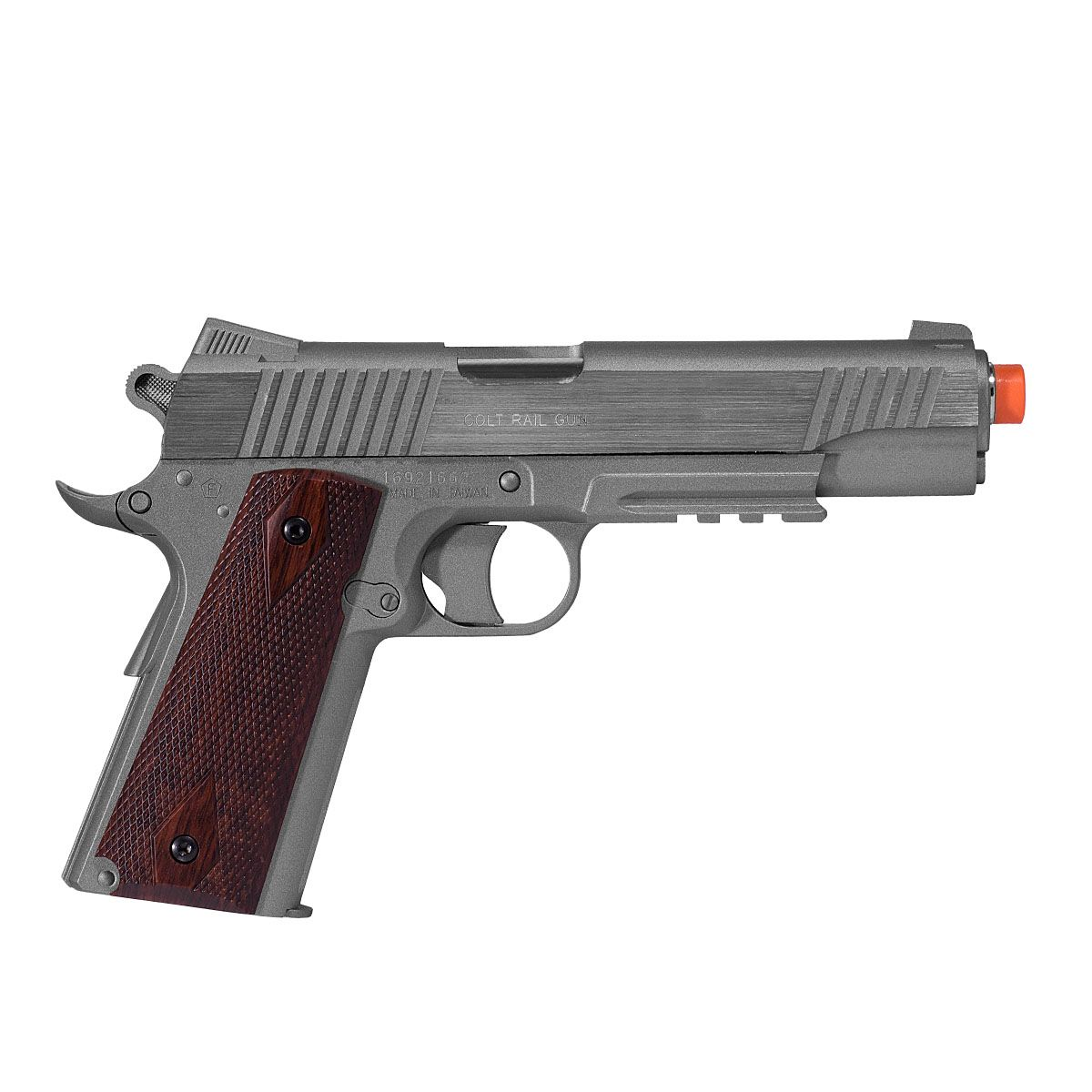 Pistola Airsoft Colt 1911 Rail Gun NBB / Slide Fixo Co2 - Cybergun