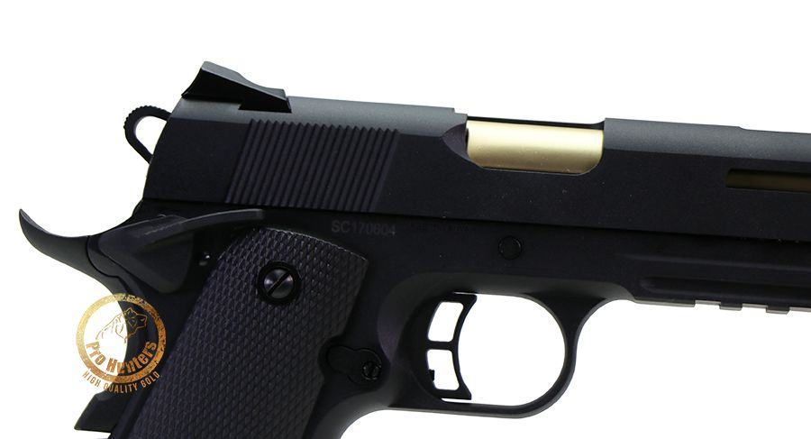 Pistola Airsoft Rudis 1911 CO2 GBB Secutor - Preta / Gold