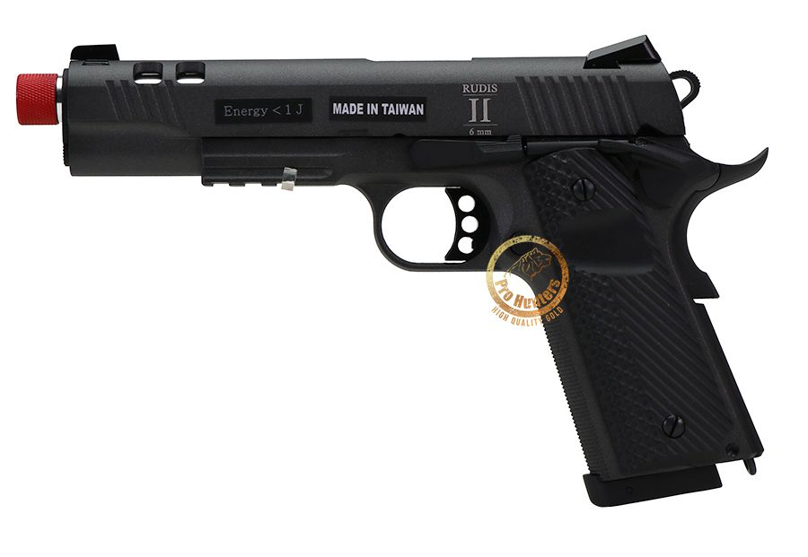 Pistola Airsoft Rudis 1911 CO2 GBB Secutor - Preta / Prata