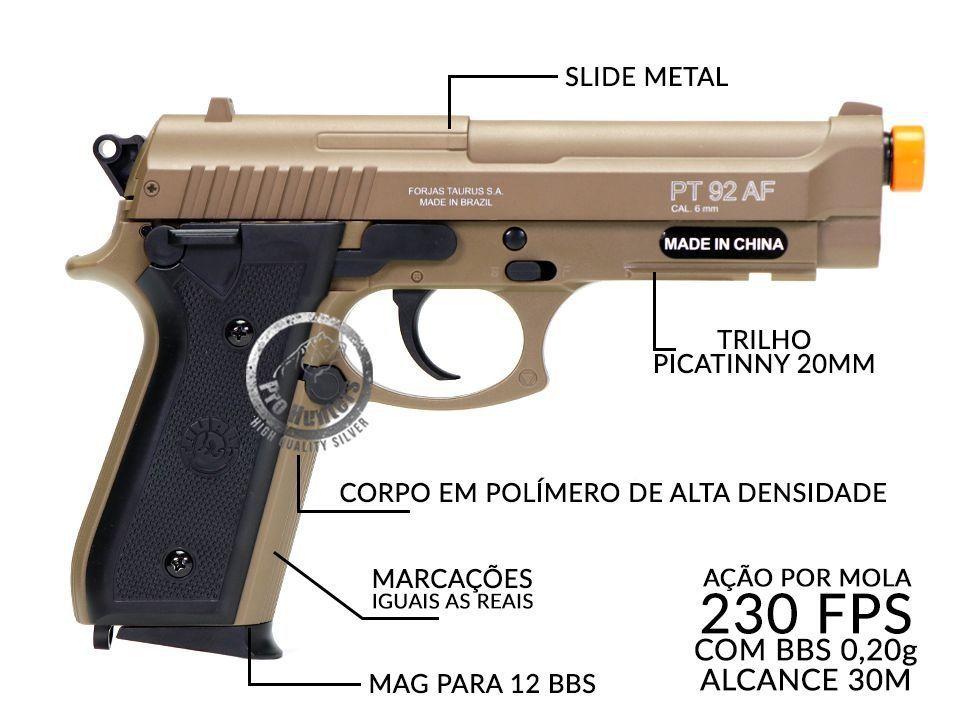 Pistola Airsoft Taurus PT92 Spring Metal Polímero + BBs 0.20g 2000 und