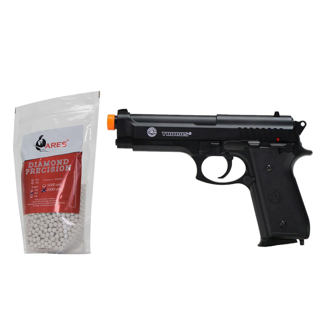 Pistola Airsoft Taurus PT92 Spring Metal / Polímero + BBs 0 20g 2000und