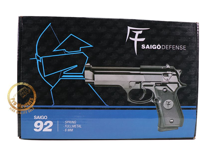 Pistola de Airsoft Spring Saigo 92 Muelle Full Metal - Black