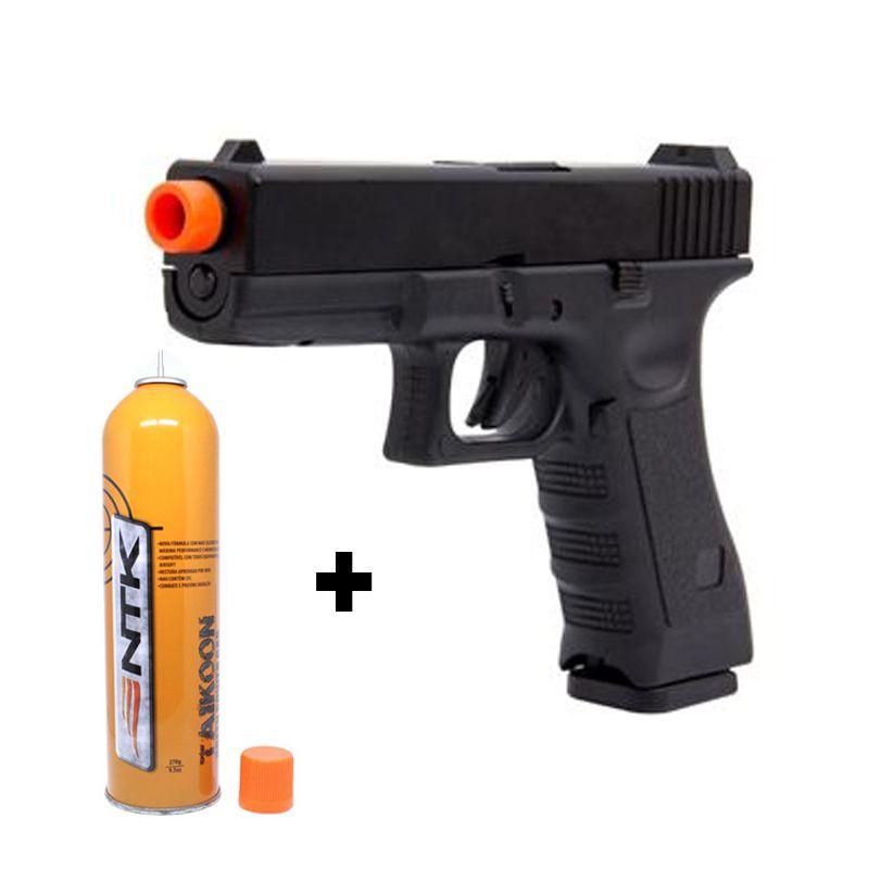 Pistola Glock 17 GBB - Army Armament Preta Polímero + Green gás NTK