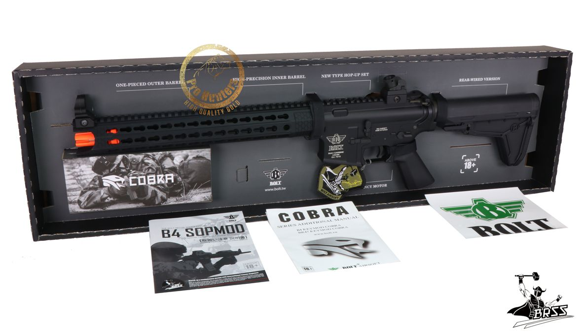 Rifle Airsoft M4 BOLT B4 KEYMOD COBRA - Black Full Metal - Blowback & Recoil System