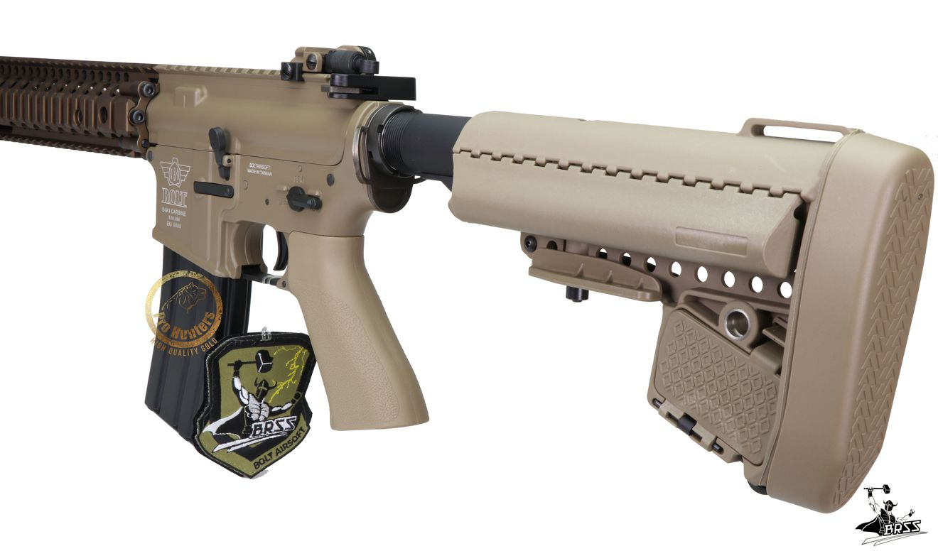 Rifle Airsoft M4 Bolt MK18 SOPMOD  - TAN Ris Full Metal - Blowback & Recoil System