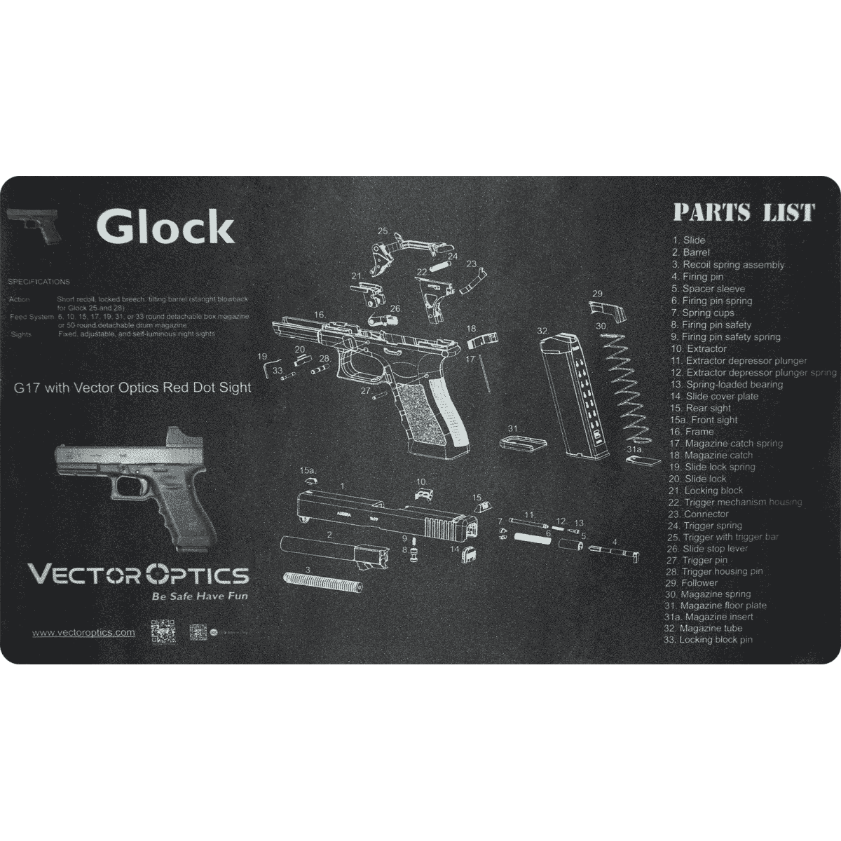 Tapete De Borracha para Limpeza de Armas Glock