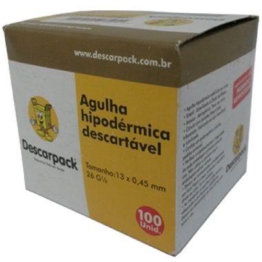 AGULHA HIPODERMICA DESCARPACK CX C/100UNID medida:13mmx4,5mm