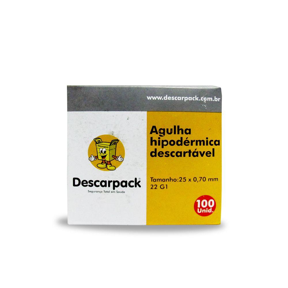 AGULHA HIPODERMICA DESCARPACK CX C/100UNID medida:25mmx0,7mm