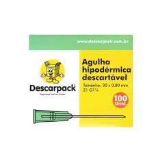 AGULHA HIPODERMICA DESCARPACK CX C/100UNID medida:25mmx0,8mm