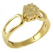 Anel Chuveiro Ouro Amarelo com Diamantes
