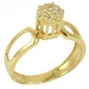 Anel Chuveiro Ouro Amarelo com Diamantes Redondos