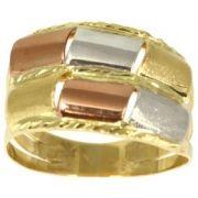 Anel de Ouro de 3 Tons