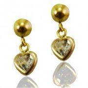 Brinco de Ouro Mini Coração com Zirconia