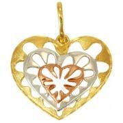 Pingente Coração em Ouro Três Tons