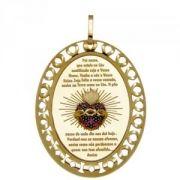 Pingente Medalha Sagrado Coração em Ouro e Rubis