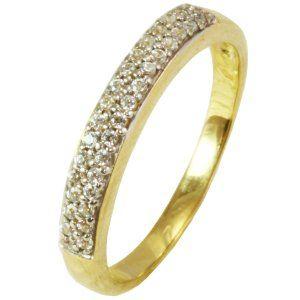 Anel Ouro Amarelo Cravejado com Zirconias  - Dumont Online - Joias e Relógios