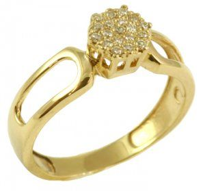 Anel Chuveiro Ouro Amarelo com Diamantes  - Dumont Online - Joias e Relógios