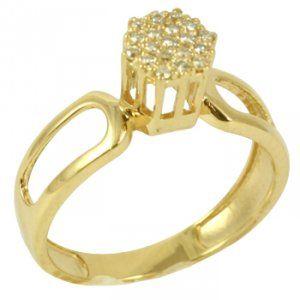 Anel Chuveiro Ouro Amarelo com Diamantes Redondos - Dumont Online - Joias e  Relógios cd452a07ec