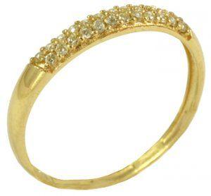 Anel Ouro Amarelo com Diamantes Cravejados  - Dumont Online - Joias e Relógios