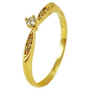 dcb83a4fa7816 Anel Solitário em Ouro Amarelo e Brilhantes - Dumont Online - Joias e  Relógios