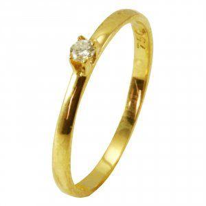 Anel Solitário em Ouro Amarelo com Diamante Cravado  - Dumont Online - Joias e Relógios