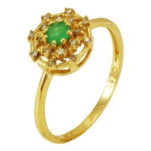 Anel em Ouro Amarelo com Esmeralda e Diamantes   - Dumont Online - Joias e Relógios
