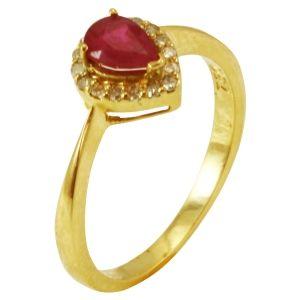 Anel em Ouro Amarelo com Diamantes e Rubi  - Dumont Online - Joias e Relógios