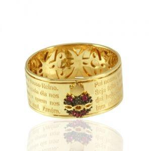 Anel em Ouro Amarelo Pai Nosso com Sagrado Coração  - Dumont Online - Joias e Relógios