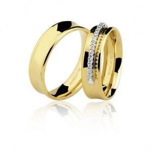 Aliança em Ouro Amarelo com 14 Pedras de Brilhantes  - Dumont Online - Joias e Relógios