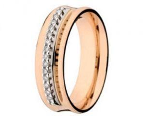 Aliança em Ouro Rosa com 14 Pedras de Brilhantes  - Dumont Online - Joias e Relógios