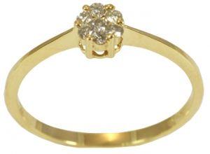 Anel em Ouro Amarelo com Diamantes no Centro  - Dumont Online - Joias e Relógios