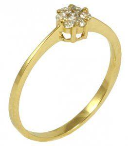 Anel em Ouro Amarelo com Diamantes Redondos no Centro - Dumont Online -  Joias e Relógios a294e93153