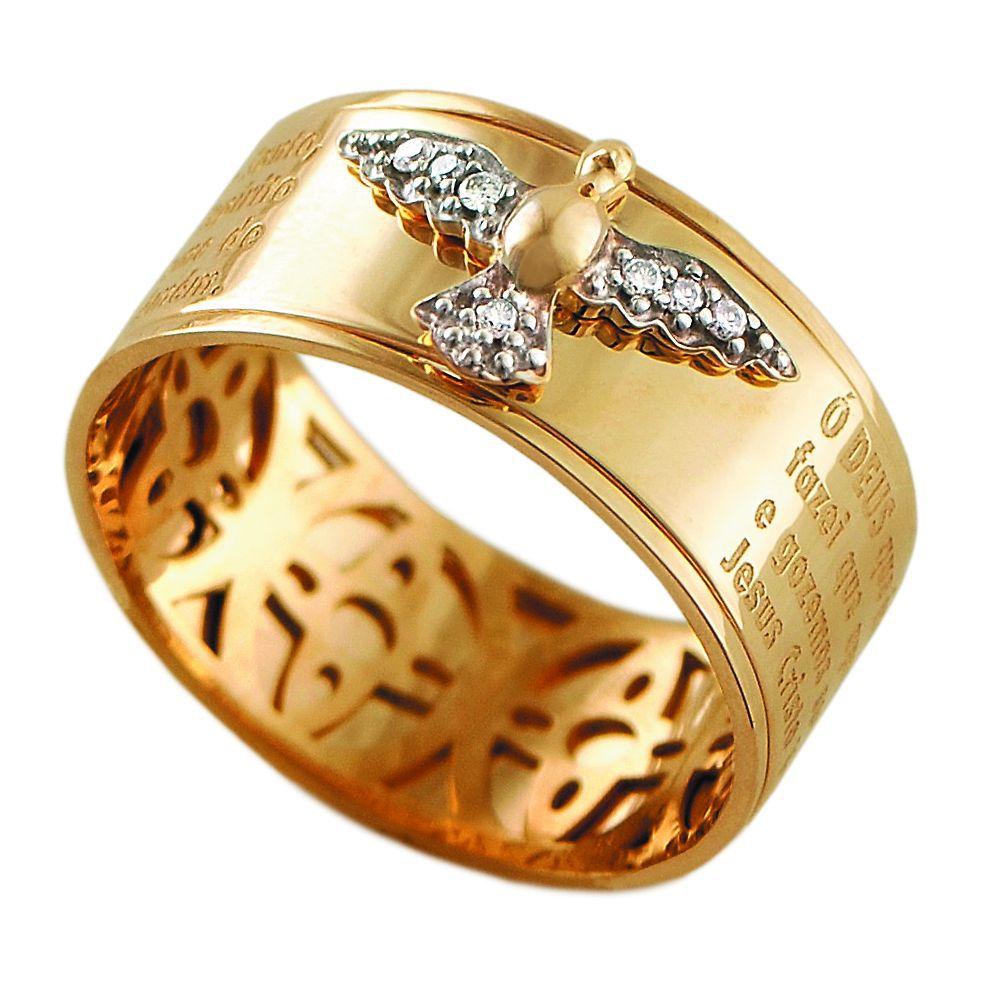 0045b565f7e9d Anel Espírito Santo em Ouro com Brilhantes
