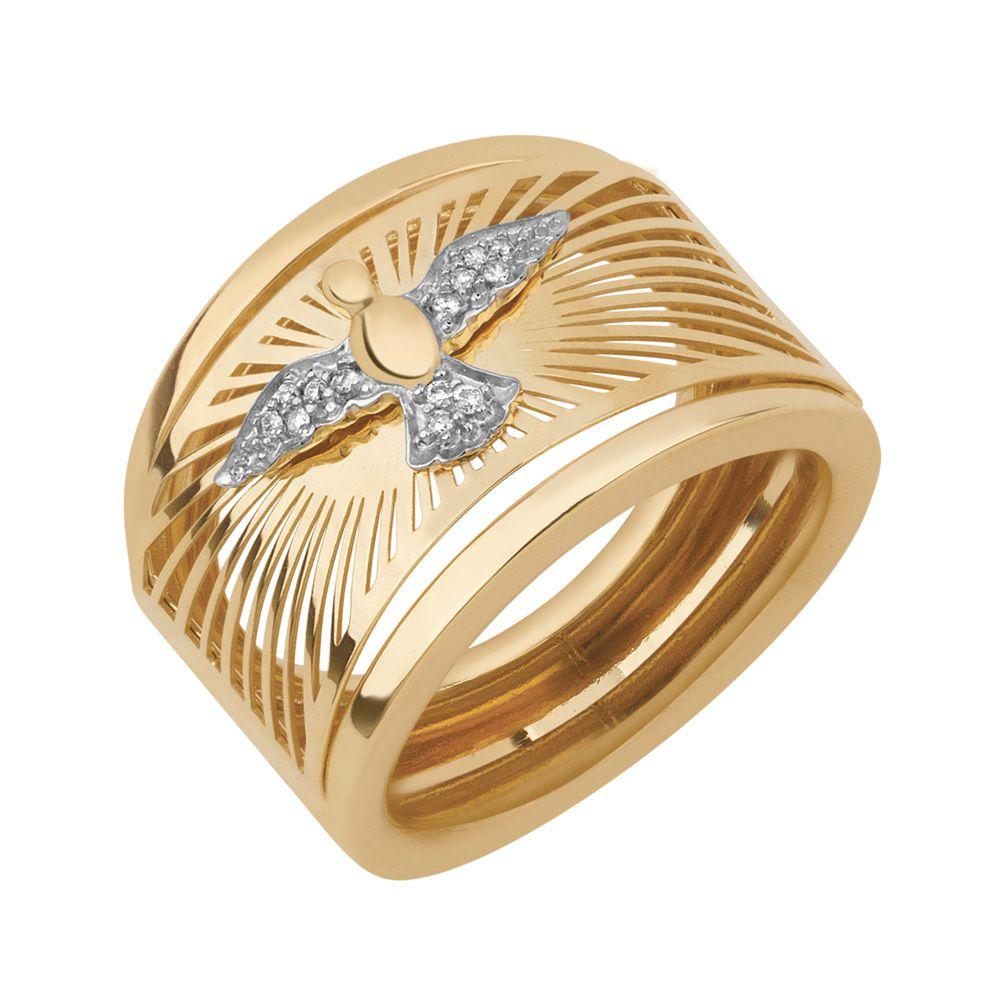 Anel Espírito Santo em Ouro com Diamantes  - Dumont Online - Joias e Relógios