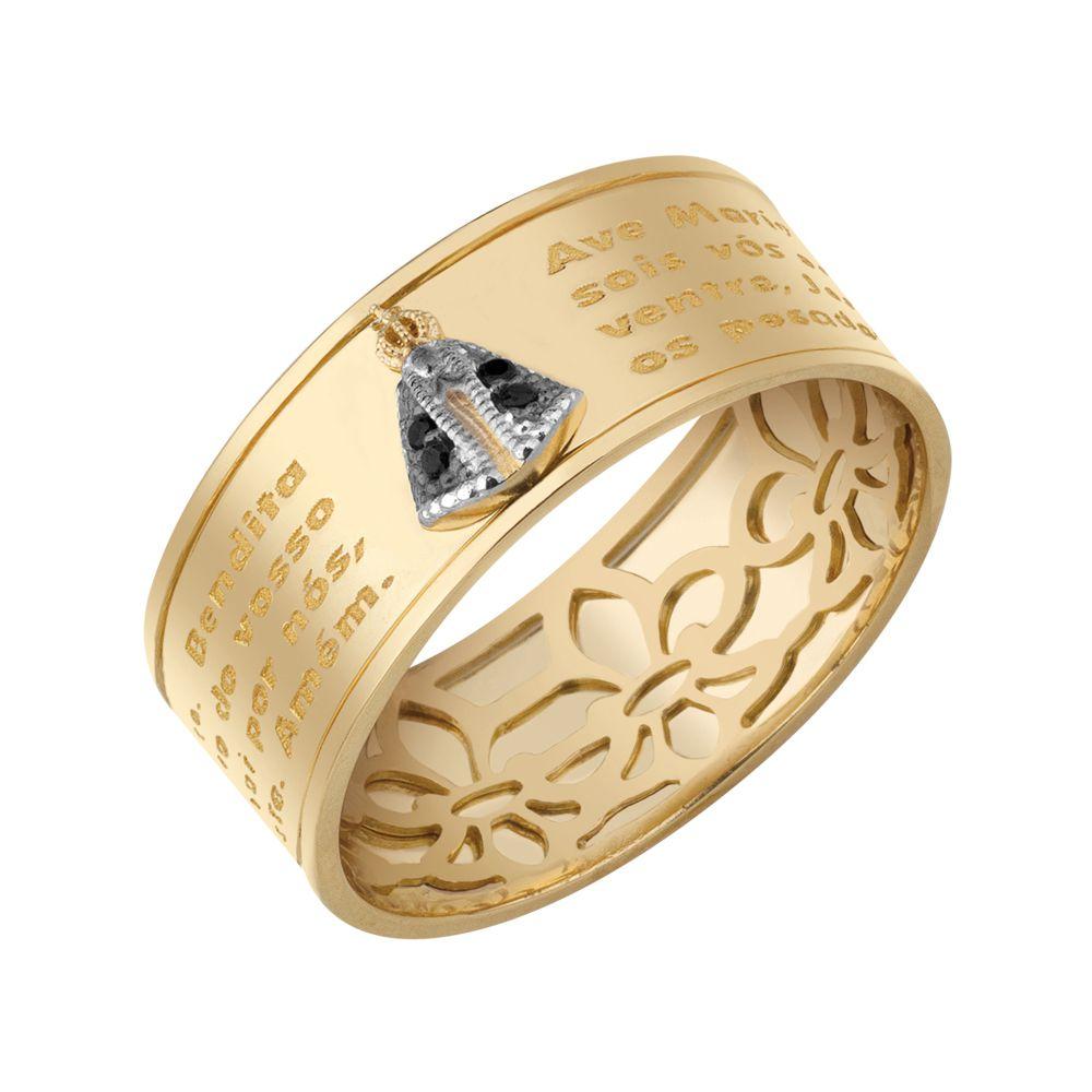 4996aa104b6c0 Anel Nossa Senhora Aparecida em Ouro com Safira - Dumont Online - Joias e  Relógios