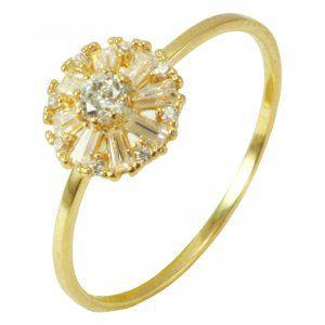 Anel em Ouro Amarelo com Zirconias   - Dumont Online - Joias e Relógios