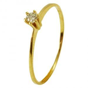 fa8781604ff98 Anel Solitário em Ouro Amarelo com Diamantes - Dumont Online - Joias e  Relógios