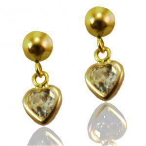 Brinco de Ouro Mini Coração com Zirconia   - Dumont Online - Joias e Relógios