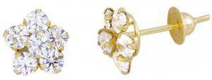 Brinco em Ouro Amarelo com Flor de Zirconia   - Dumont Online - Joias e Relógios