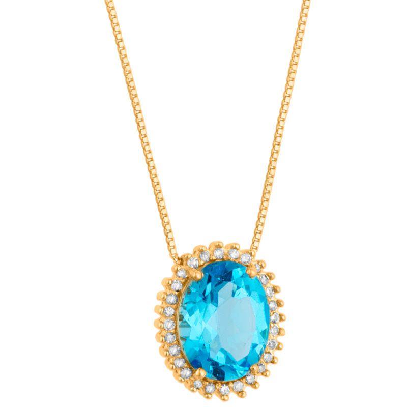 Gargantilha em Ouro com Brilhantes e Topázio Azul  - Dumont Online - Joias e Relógios
