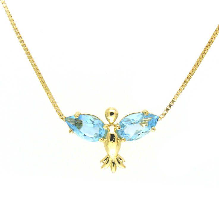Gargantilha em Ouro com Topázio Azul  - Dumont Online - Joias e Relógios