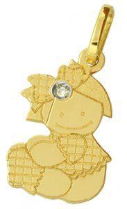 Pingente Bonequinha em Ouro Amarelo com Diamantes  - Dumont Online - Joias e Relógios