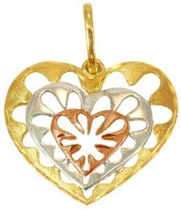 Pingente Coração em Ouro Três Tons - Dumont Online - Joias e Relógios ca798dd1ef
