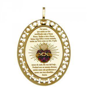 Pingente Medalha Sagrado Coração em Ouro e Rubis  - Dumont Online - Joias e Relógios