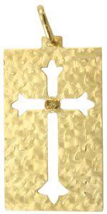 Pingente Placa Diamantada em Ouro Amarelo  - Dumont Online - Joias e Relógios