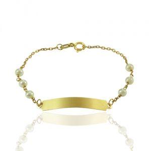 Pulseira Chapinha em Ouro Amarelo com Pérolas  - Dumont Online - Joias e Relógios