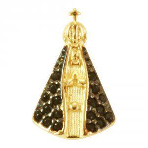 Pingente Santa em Ouro Amarelo e Zirconias - Dumont Online - Joias e  Relógios d3c616e241