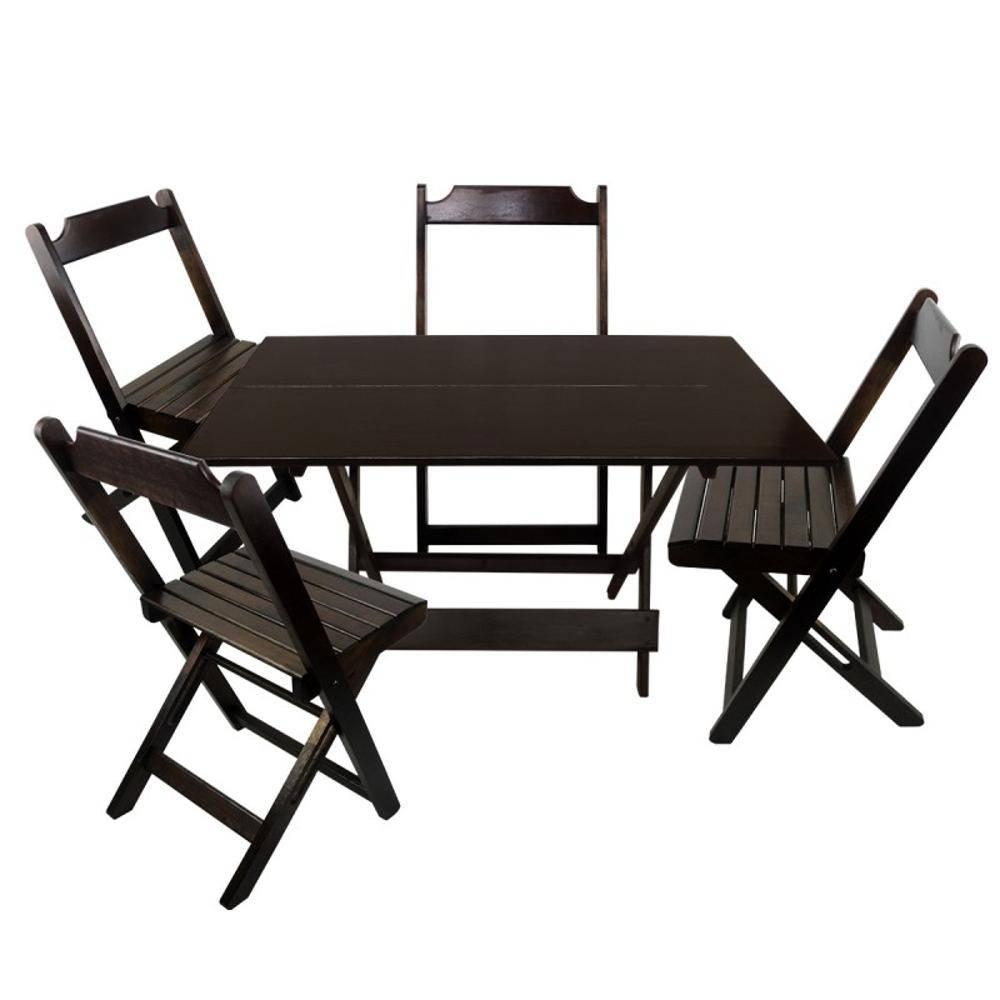 Conjunto Mesa e Cadeira Dobrável de Madeira 70x70cm Imbuia Madesil