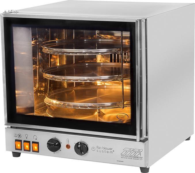 Forno para pão de queijo FGE3 Suporte  para 3 bandejas redondas giratoria Titã