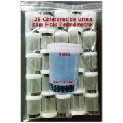 25 Coletores de urina com fita termômetro
